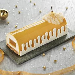 Bûche Façon Cheesecake Caramélisé, Poire & Fève de Tonka