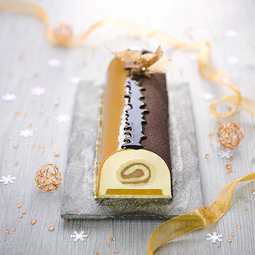 Recette de Bûche Caramel, Chocolat & Abricot ancel - Condifa